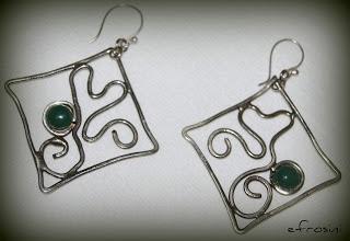 efrosini  Handmade metalwork earrings aventurine