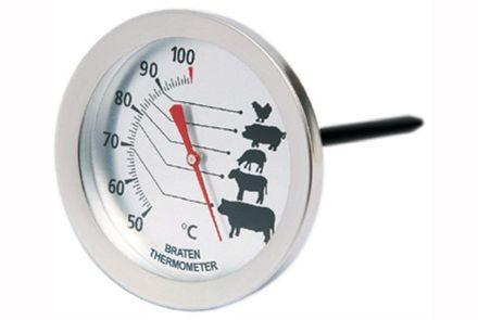 Köttermometer med illustrationer  Rätt temperatur är A och O för perfekt resultat, och då behövs en kvalitetstermometer! Diameter 7 cm Längd 14 cm Mäter från 50 till 100 grader C Rek. butikspris: 175.00 SEK