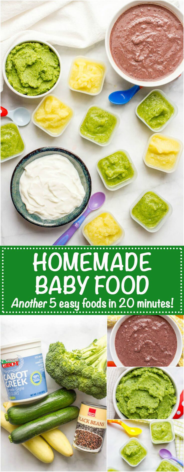 Homemade baby food -- easy how to for broccoli, zucchini, squash, black beans and yogurt, all in just 20 minutes!   www.familyfoodonthetable.com