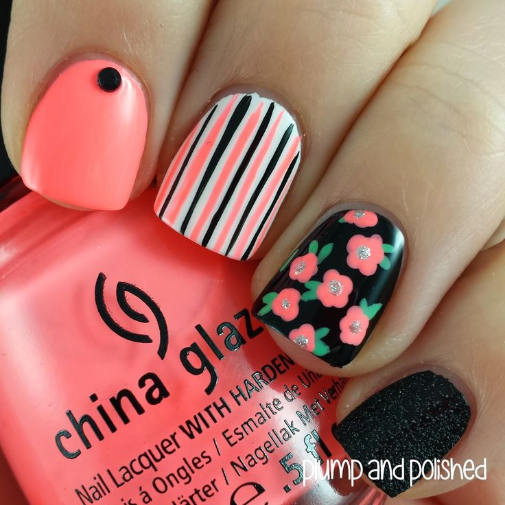 Coral, black, and white floral