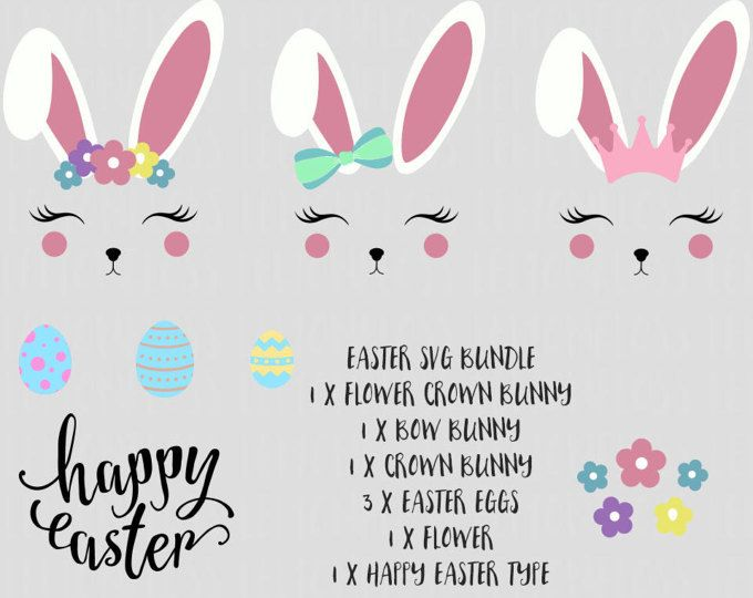 Svg Easter Bunny Bundle Bunny Ears Rabbit Svg Easter Svg Svg