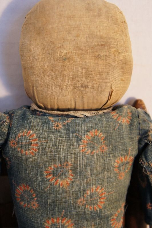 Old folky rag doll all original with pencil face great blue dress (item #1354326, detailed views)