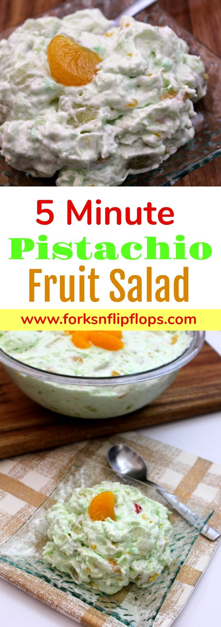 An easy Five Minute Pistachio Fruit Salad makes the perfect dessert for any occasion. It only takes six ingredients to create this no-bake, light and airy treat. Whether your stretched for time or need a dessert to feed a crowd. It can easily be doubled or tripled.