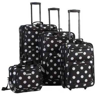rockland luggage dots 4 piece luggage set black dots one size upright tote skate wheels full lining expandable internal handle