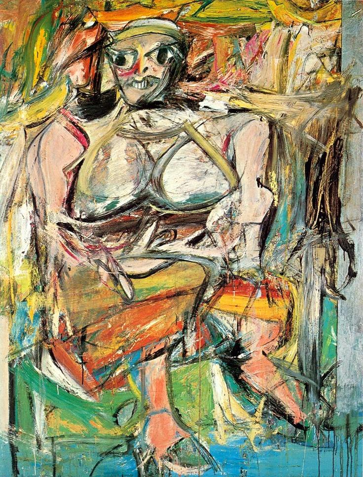 Willem de Kooning - De manier waarop De Kooning schildert is bijna agressief te noemen. Deze abstract expressionistische kunstenaar vecht met het doek en de verf en probeert zo zijn gevoel op het canvas over te brengen. In alles ademen zijn werken kracht (dynamiek) en beweging uit.