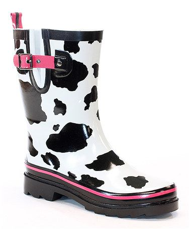 Look at this #zulilyfind! Black Cow Spot City Mid-Top Rain Boot by Chooka & Western Chief #zulilyfinds