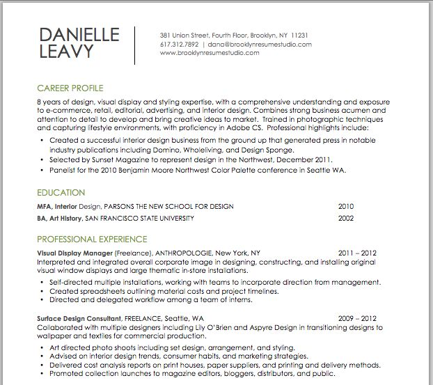 visual  u0026 retail design resume