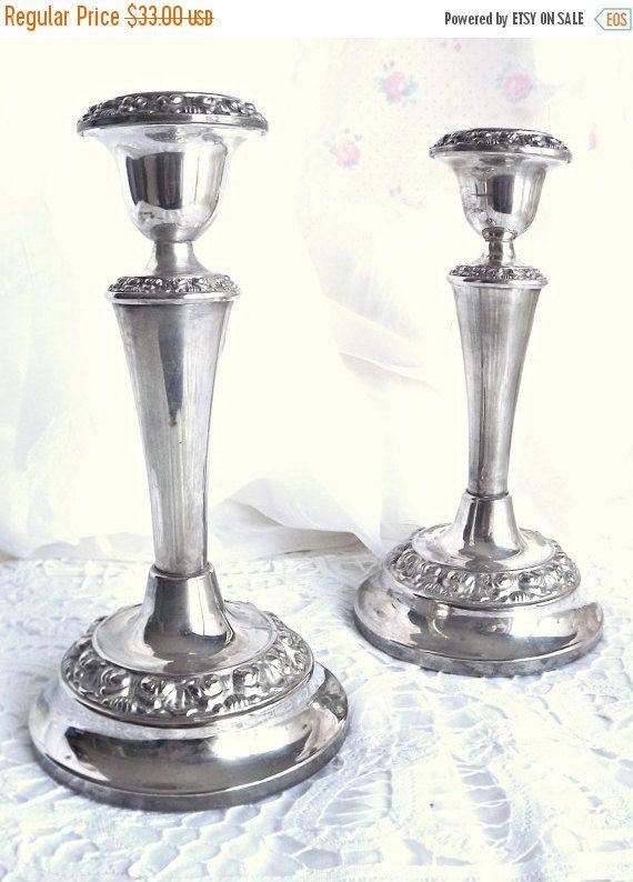 AUF VERKAUF Silber Silber vergoldet Kerze von AgedwithGraceVintage