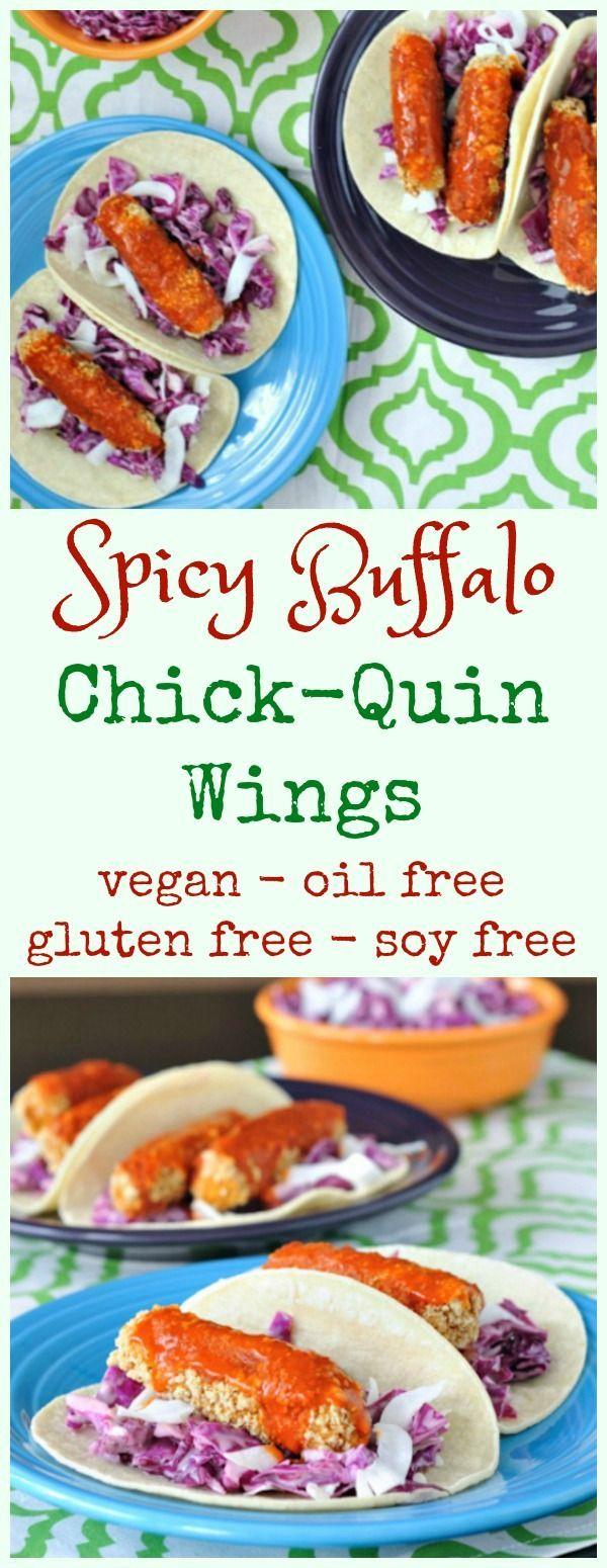 Spicy Buffalo Chick-Quin Wings @spabettie #vegan #oilfree #glutenfree #soyfree #airfryer #gameday