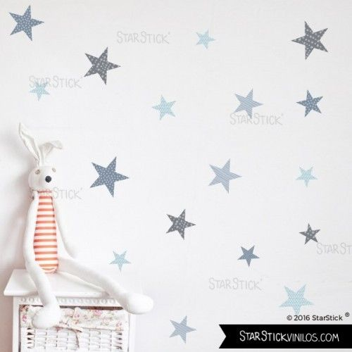 40 Estrellas Azul - Vinilos infantiles para deoorar paredes de habitaciones infantiles.