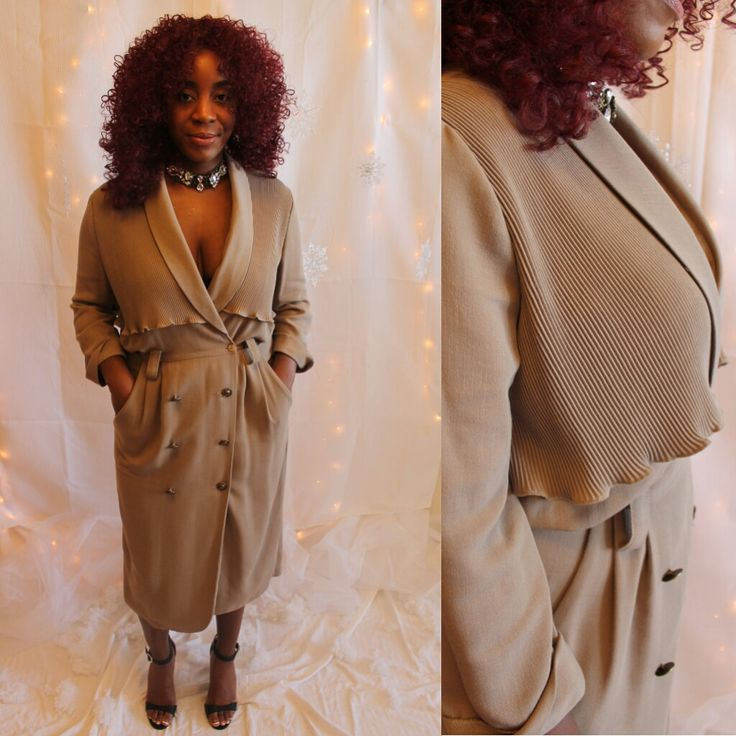 80's Taupe Pleated Dress/Soft Coat Size: Medium/Large by HotMamaVintage on Etsy