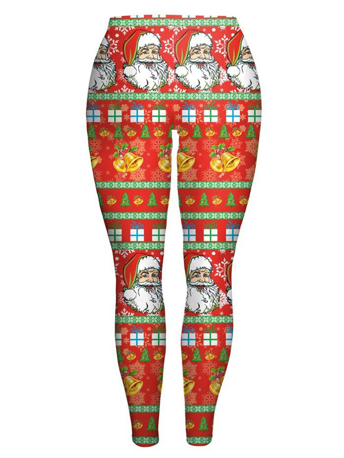 Slim Santa Claus Print Christmas Leggings