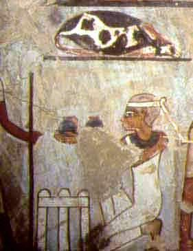 Offering make-up in the tomb of Sennefer. Gourna. XVIII Dynasty.Ancient Egypt.