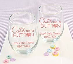 "Personalized ""Cute as a Button"" Printed Stemless Wine Glass"