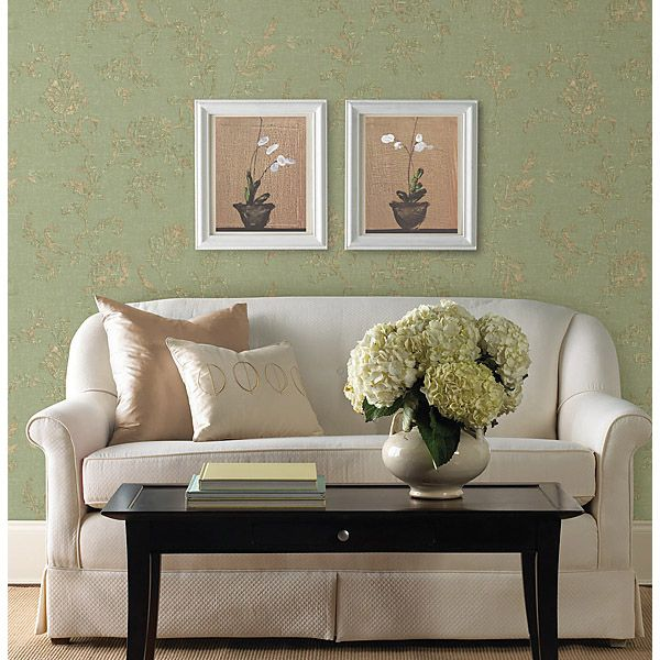 Living Room With Light Grey Walls And Damask Decor