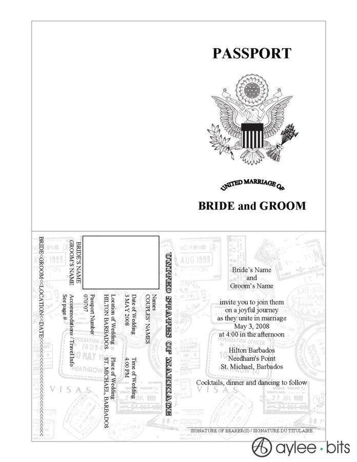 Pre-designed passport invitation by AyleeBits.com