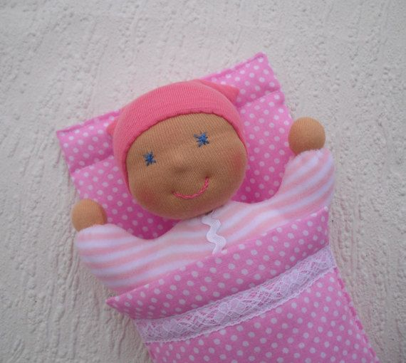 Tiny baby doll with sleeping bag, Handmade rag doll for baby girl, Waldorf pocket doll, First doll, Organic toddler gift, Natural soft toys