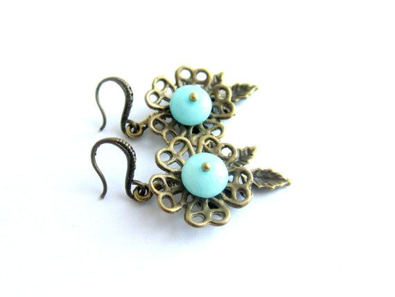 Amazonite earrings floral earrings dangle by MalinaCapricciosa