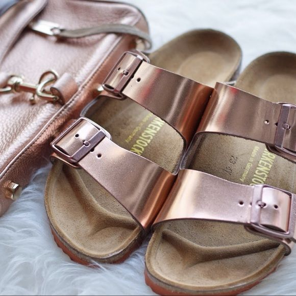 Rose gold copper Birkenstocks Worn literally two times! Brand new Birkenstocks with soft footbed. Still have the box too! These are no longer sold by Birkenstocks and are super difficult to come by! Birkenstock Shoes