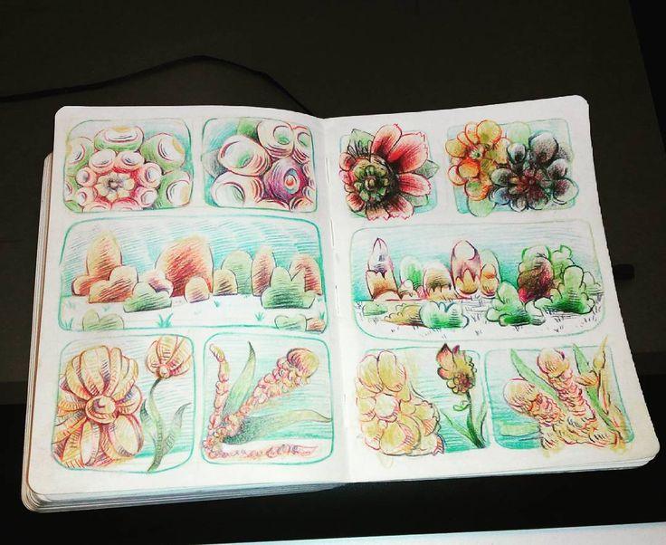 """Izquierda, tercera pàgina de """"Flores, ácidos y otras nevadas naturales"""" lapices de colores"""