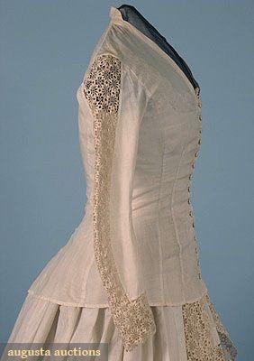 Cotton Amp Lace Wedding Dress 1880s Women S Fashion