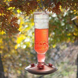 Clear Antique Bottle Hummingbird Feeder