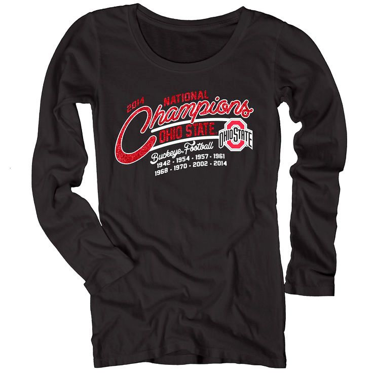 Ohio State Buckeyes Juniors 2014 College Football Playoff National Champions Five One Dyed Long Sleeve T-Shirt - Black - $21.84