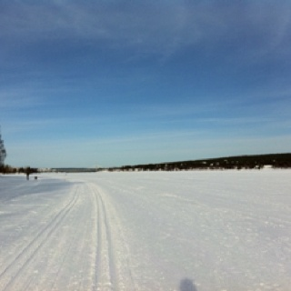 Walking or skiing on A frozen river.