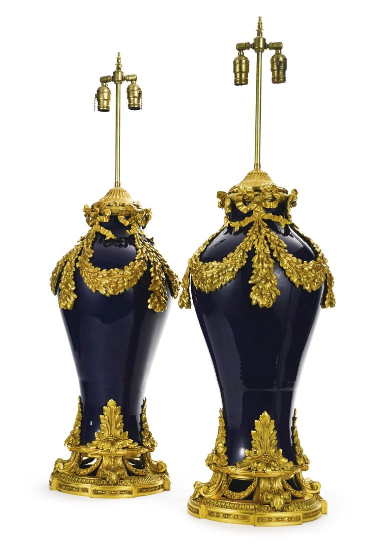 A Large Pair Of Louis XVI Style Gilt Bronze Mounted Sèvres Style Cobalt  Ground Porcelain Table Lamps France, Early Century Both Engraved At Base C.  Fox ...
