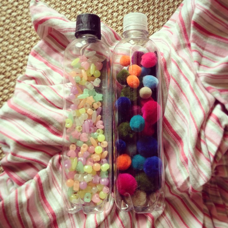 Created a loud and quiet sensory bottle from recycled water bottles. Great for toddlers and younger children to explore items they might be to young for.