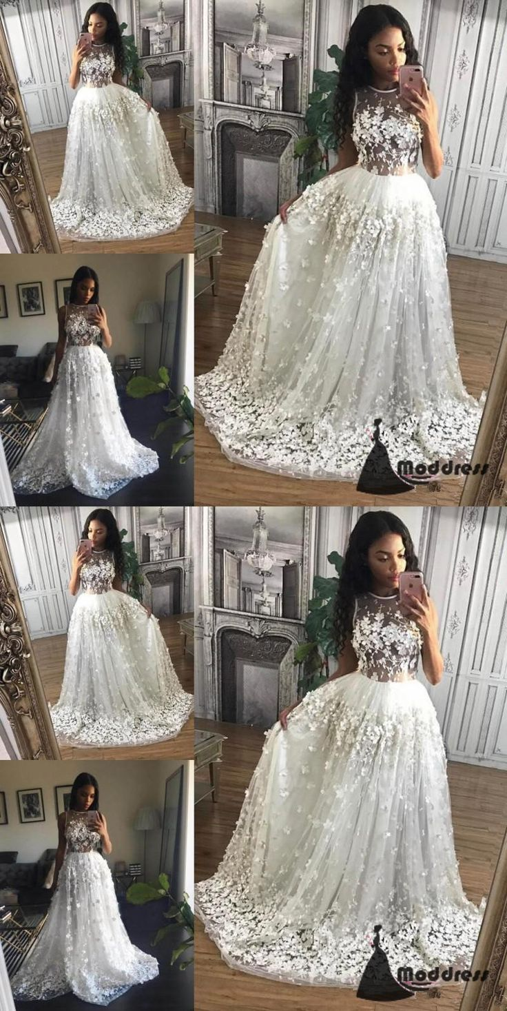 Applique Flowers Long Prom Dress Scoop Lace Evening Dress White Formal Dresses  #fashion #shopping #dresses #eveningdresses #2018prom
