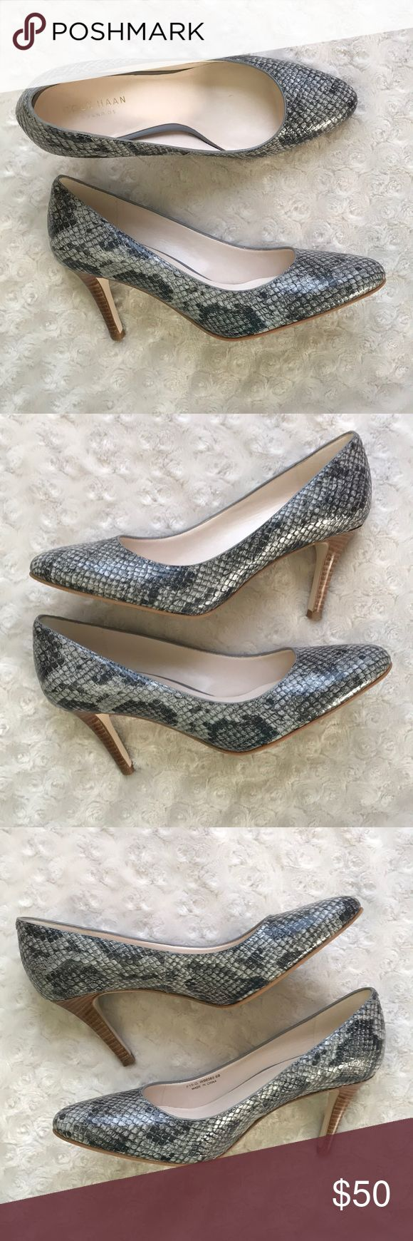 Cole Haan 6B Pumps Heels Grand OS Reptile Cole Haan Grand OS Pumps Size 6B - Reptile/Snakeskin pattern - Unsure if faux or real Light scuffs on right toe area, blend in well. Silver marks on soles. Smoke free home. Cole Haan Shoes Heels
