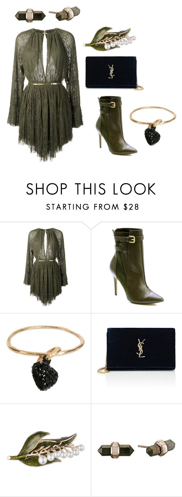 """The Forest (ms)"" by ale-pink5 ❤ liked on Polyvore featuring Jay Ahr, Charles by Charles David, Stefania Di Pardo, Yves Saint Laurent, Anne Klein and Kendra Scott"
