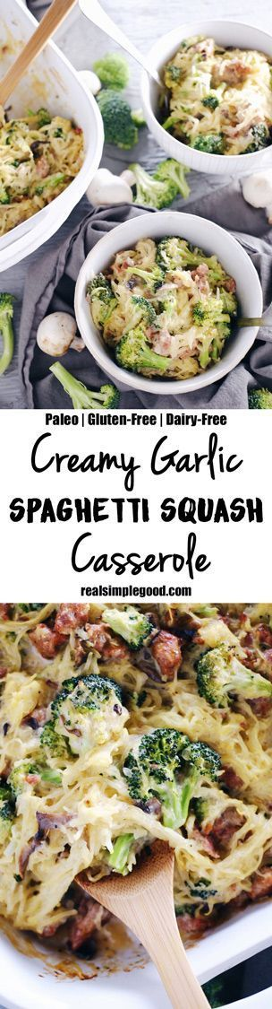 This creamy garlic spaghetti squash casserole is so saucy and delicious! It's got a creamy, dairy-free sauce packed with garlicky goodness that is perfect with the spaghetti squash, mushrooms, broccoli, and sausage. Paleo, Gluten-Free + Dairy-Free.   http://realsimplegood.com