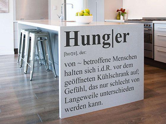 Lustiger Spruch am Küchenschrank | Hunger Definition als Wandtattoo