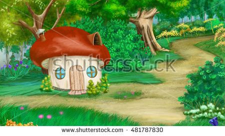Fairy Tale Background with mushroom house. Digital Painting, Illustration in…