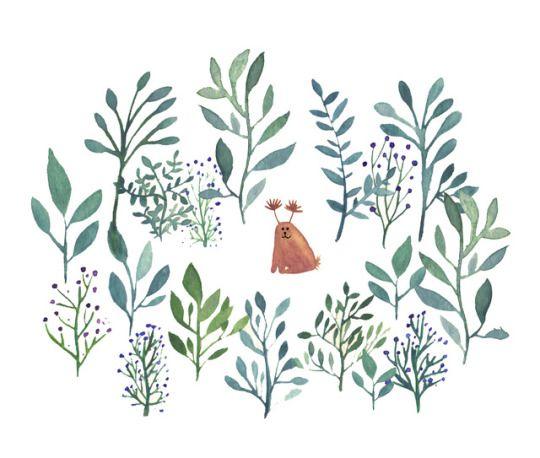Jelena Matriszenka watercolour illustration #cute #creature #forest #plants #green #watercolour #watercolor #illustration #natural #nature #handmade