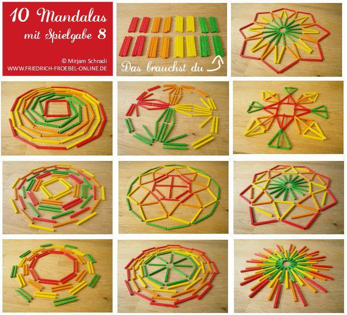 10 Vorlagen zum Mandala legen mit Kindern mit Spielgabe 8 Legematerial nach Fröbel http://www.friedrich-froebel-online.de/shop/spielgaben/geometrische-formen-legespiel-8-1/
