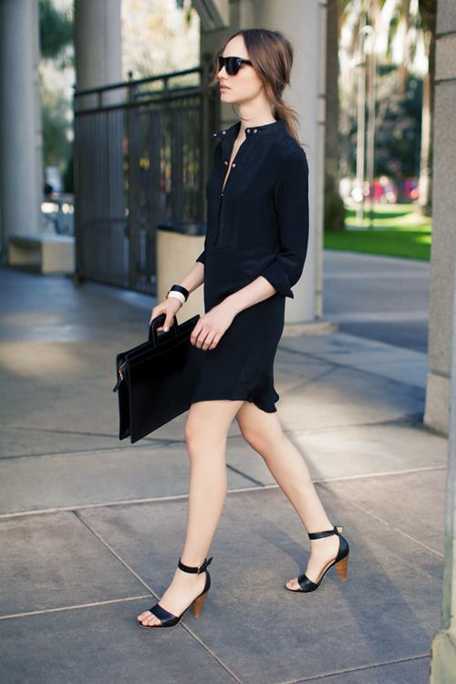 Black Shirtdress, Black Sunglasses, Black Briefcase, Black Ankle Straps, Cuff Bracelets