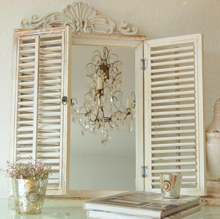 Charmanter Landhaus Wandspiegel mit Fensterläden, Spiegel, French, Shabby, Vintage, Antik: Amazon.de: Küche & Haushalt
