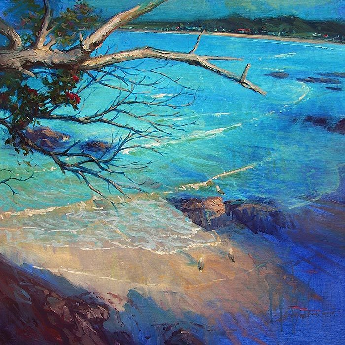 Richard Robinson Gallery - Oil painting of Matapouri Beach in New Zealand.