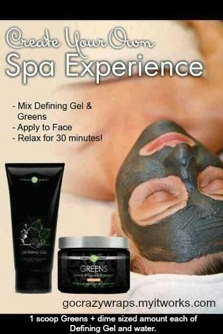 The Greens Facial using Defining Gel and Greens products by It Works! Global.  Mix together 1 scoop of Greens and a dime-sized amount of Defining Gel and water.  Apply to face, relax for 30 minutes, rinse and you are done!  Loyal Customer price of $28 for Greens and $45 for Defining Gel.  http://www.gocrazywraps.blogspot.com.