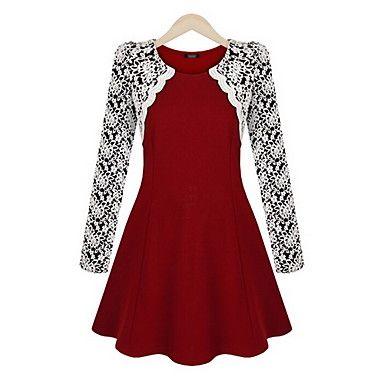De clement vrouwen nieuwe europese kant temperament dunne taille ronde kraag jurk – EUR € 15.45