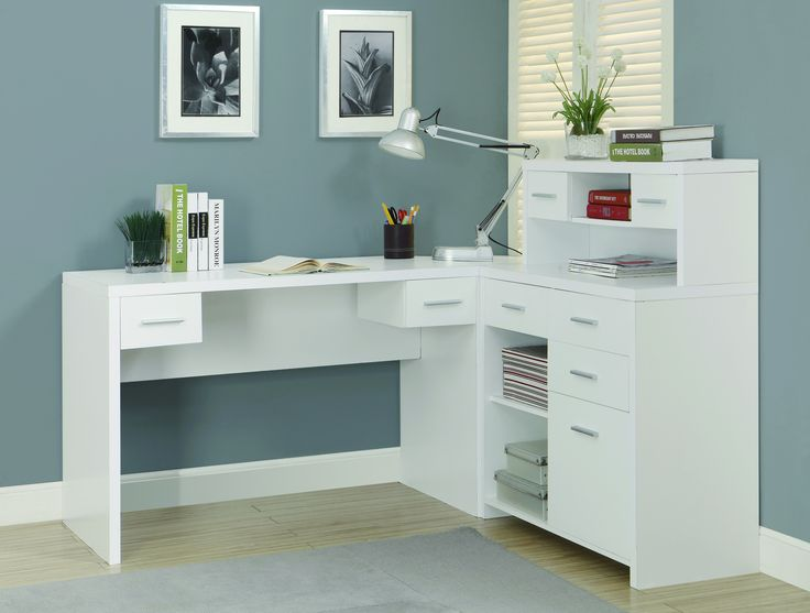 Sleek White Finished L Shaped Corner Office Desk With Storage