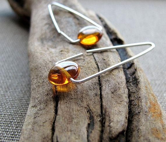 Triangle Hoop Earrings & Amber. Sterling Silver Earrings. Gemstone Elegant Earrings. Amber Earrings. Geometric Jewelry. Minimalist Earrings