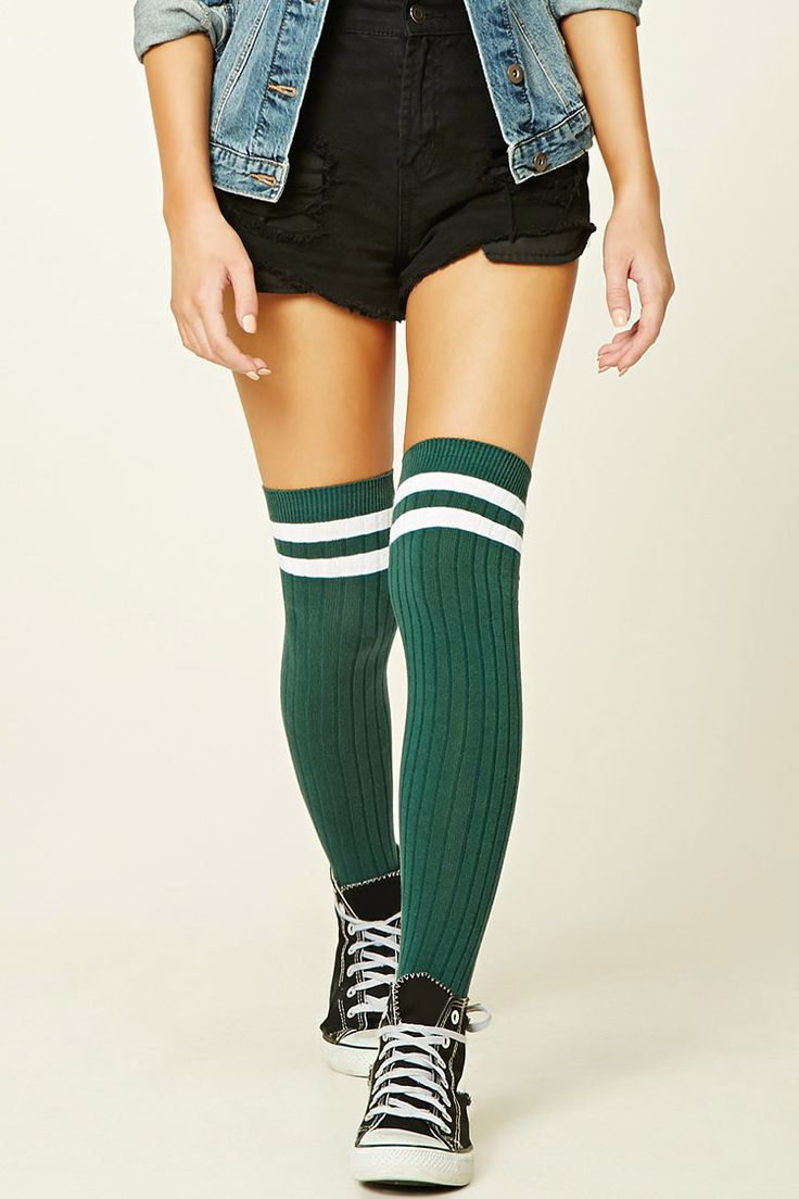 $6.90 pair of ribbed knit over-the-knee socks with a varsity stripe.