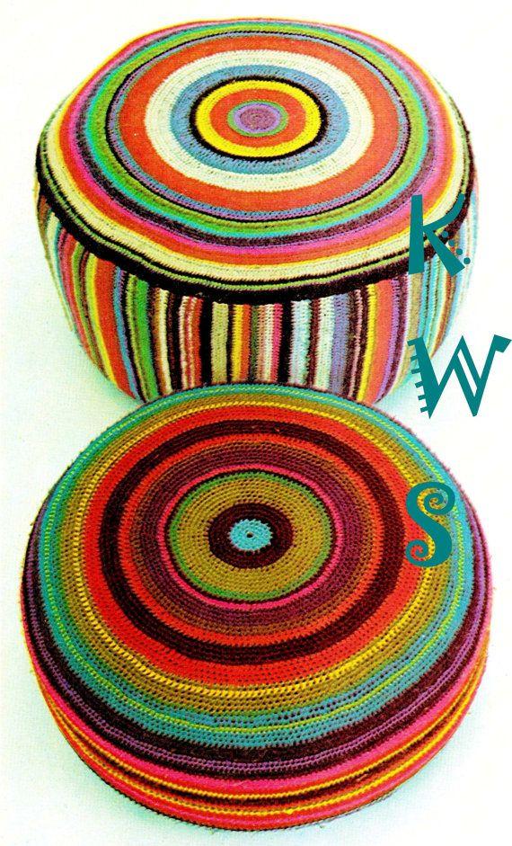 Vintage 70s LARGE Floor Pillow PDF Crochet by KinsieWoolShop
