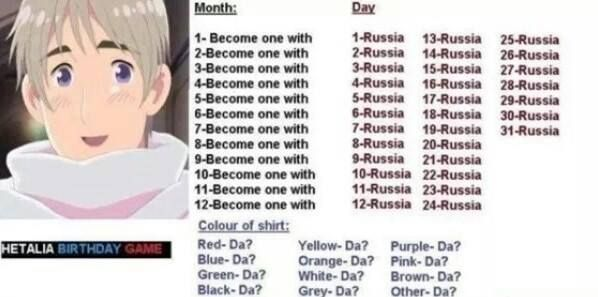 "Yes! I got ""Become one with Mother Russia, da?"" Whoa!! Best birthday game ever!"