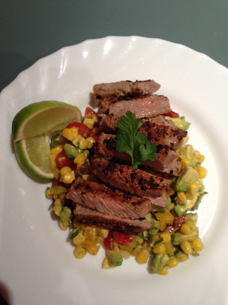 Beef with Avocado, Corn and Capsicum salsa. Michelle Bridges recipe... deluxe.