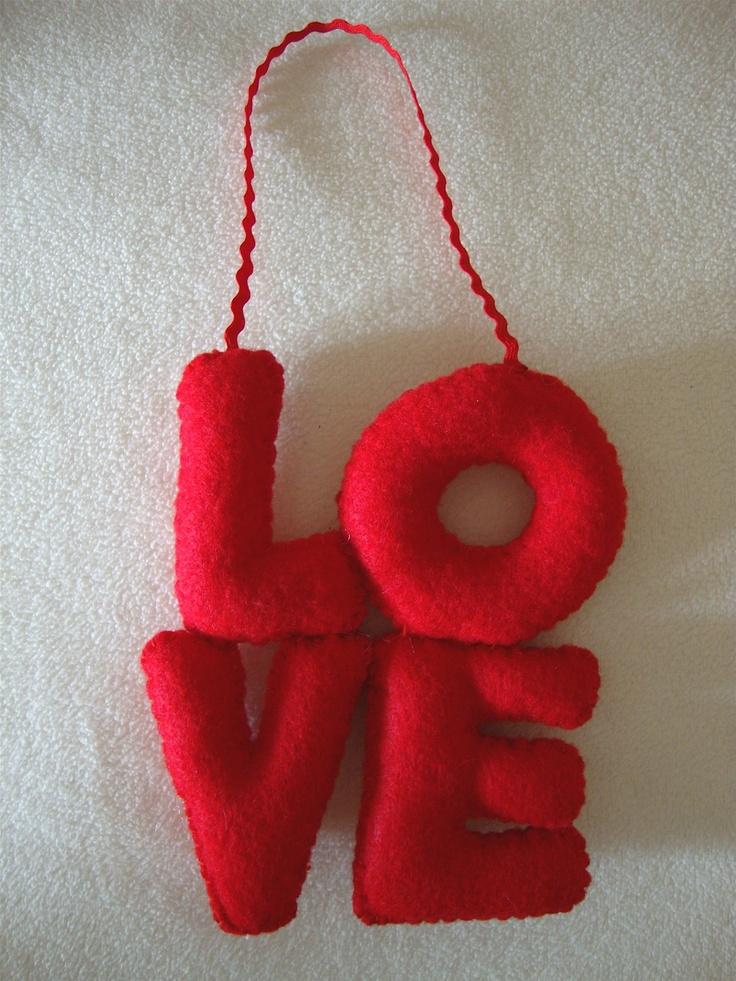 LOVE handmade felt ornament. $10.00, via Etsy. (LexiFeltique)